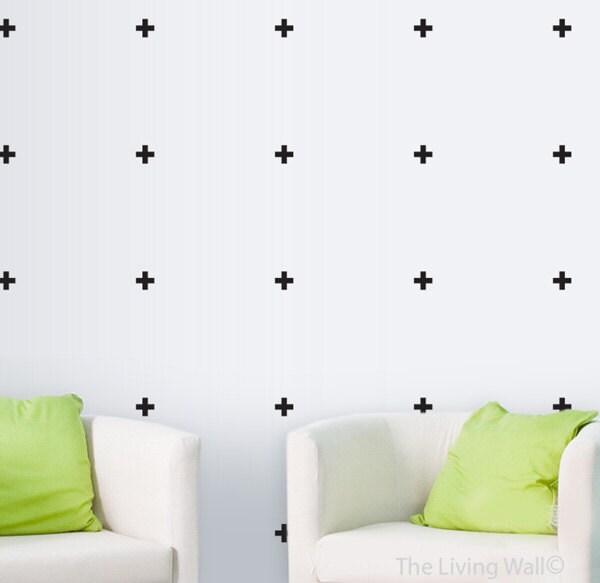 cross vinyl wall sticker geometric decal home little cross | etsy