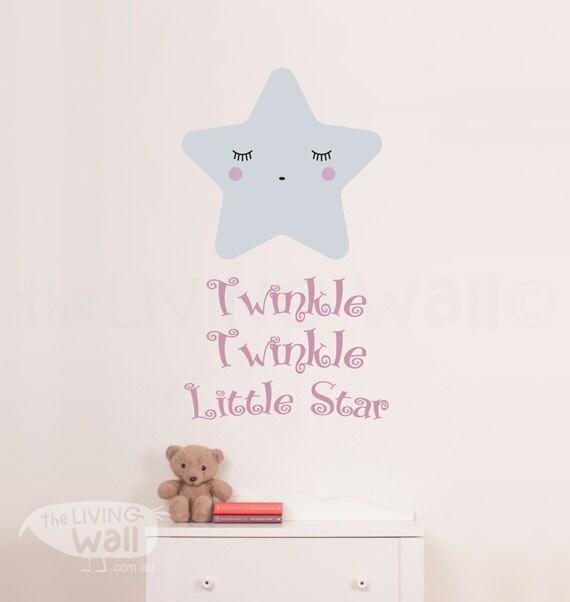 Twinkle Twinkle Little Star Wall Decal, Star Nursery Decor, Baby ...