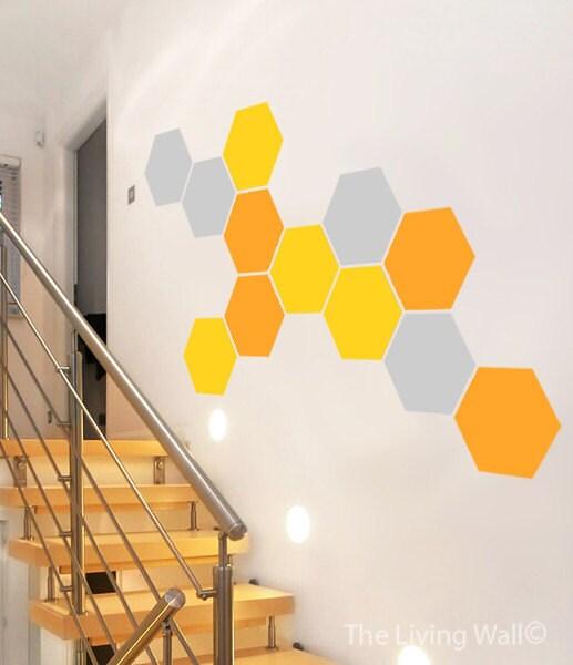 Honeycomb Wall Decal, Hexagon Decor Stickers Mural Art Hexagons Wall ...
