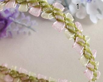 "15 yard 1cm 0.39"" wide green pink tulle gauze ruffled edging braid tapes lace trim ribbon 33167 free ship"