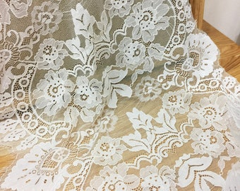 """3 meter 50cm 19.6"""" wide ivory eyelash fabric dress embroidered tapes lace trim ribbon G26C149O0119T free ship"""