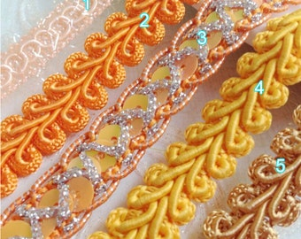 15 yard 0.7-1.2cm wide orange braided embroidered tapes lace trim ribbon 3376 free ship