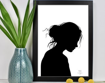 Personalised Black & White Silhouette Portraits (unframed)