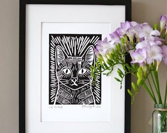 Black Cat Linocut Print (unframed)