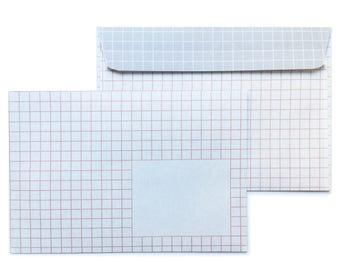Enveloppes à carreaux, gris-rose