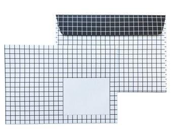 10 enveloppes à carreaux, noir-blanc