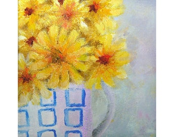 Original miniature painting, 'Chrysanthemums', mounted, ready to frame