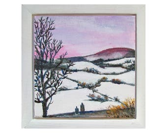 Original framed miniature painting, 'January', modern style landscape painting