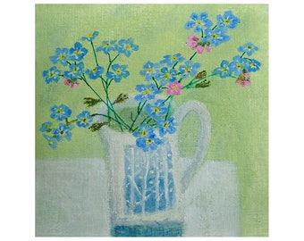 Original miniature painting, 'Forget Me Nots', mounted, ready to frame
