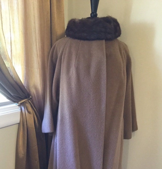 Lilli Ann Vintage 50s coat mink collar lined