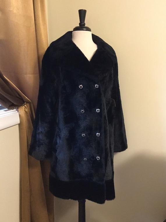 Faux Fur Coat VIntage Black 70s