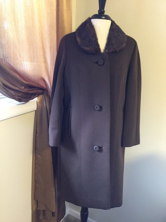 Vintage 60s coat brown wool with fur collar