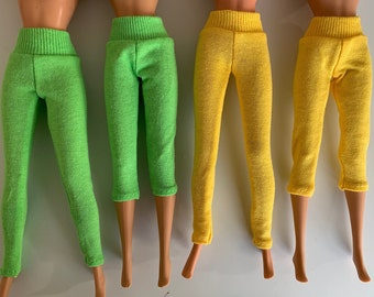COLORFUL SPANDEX CAPRI PANTS with a BLACK  WAISTBAND for  BARBIE DOLL