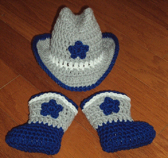 6593ea28671 ... greece hand crochet baby dallas cowboys hat boot set gray white etsy  f825a a130c