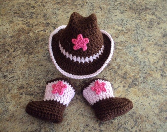 Hand Crochet Baby Girl Cowboy Hat, Boot Set ~ Pink & Brown