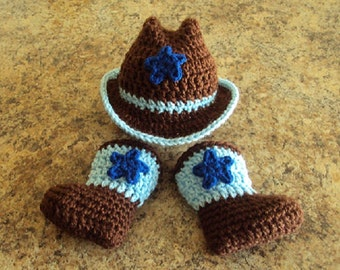 Hand Crochet Baby Boy Cowboy Hat, Boot Set ~ Blue & Brown