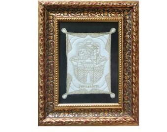 Jerusalem Art, Framed Judaica, Holy Land, Jewish Art, Jerusalem Decor, Jerusalem, Hamsa Wall Art, Golden Frame, Original Israeli Hand Made