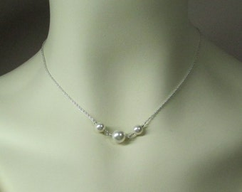 Bridesmaid Necklace Pearl Bridesmaid Jewelry Set of 5 Three Pearl Necklace Bridesmaid Gift Pearl Bridal Jewelry Wedding Jewelry