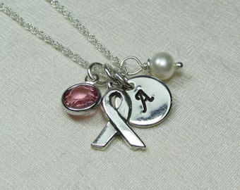 Initial Necklace - Breast Cancer Awareness Necklace - Personalized Birthstone Necklace Survivor Necklace Memorial Ribbon Remembrance Jewelry