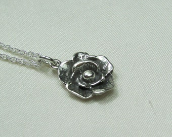 Bridesmaid Jewelry, Rose Necklace, Bridesmaid Gift, Bridal Necklace, Bridesmaid Necklace, Wedding Jewelry, Sterling Silver Flower Necklace