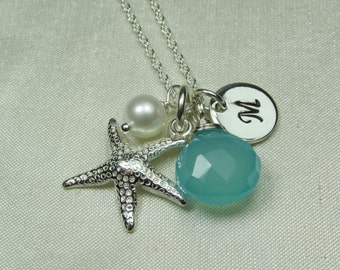 Initial Necklace Bridesmaid Jewelry Beach Necklace Personalized Bridesmaid Gift Starfish Chalcedony Necklace Monogram Necklace Beach Jewelry