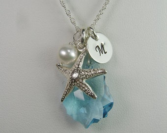 Beach Bridesmaid Jewelry Set of 4 Starfish Bridesmaid Necklace Bridesmaid Gift Personalized Wedding Jewelry Blue Initial Necklace