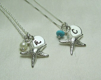 Bridesmaid Jewelry Set of 5 Starfish Bridesmaid Initial Necklace Bridesmaid Gift Beach Wedding Jewelry Personalized Bridesmaids Gifts
