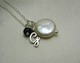 Personalized Necklace Initial Necklace Coin Pearl Necklace Monogram Necklace Birthstone Necklace Mothers Necklace Personalized Jewelry Gift