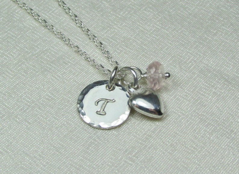 Initial Necklace Sterling Silver Personalized Necklace for Mom Birthstone Necklace Mothers Necklace Personalized Jewelry Monogram Necklace