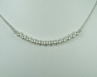 Bridesmaid Jewelry White Pearl Bar Necklace Pearl Bridal Necklace Pearl Necklace Bridesmaid Gift Bridesmaid Necklace Wedding Jewelry
