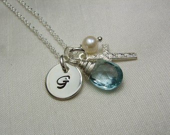 Initial Necklace Personalized Birthstone Necklace Mothers Necklace Silver Cross Necklace Monogram Necklace Baptism Gift for Mom Necklace