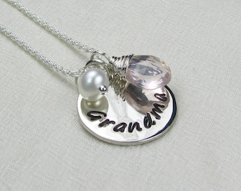 Grandma Necklace Monogram Necklace Sterling Silver Initial Necklace Birthstone Personalized Necklace Mothers Jewelry