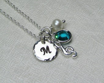 Initial Necklace Sterling Silver Personalized Necklace Music Necklace Mothers Necklace Birthstone Necklace Monogram Personalized Jewelry