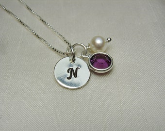 Personalized Bridesmaid Necklace Set of 6 Bridesmaid Jewelry Initial Necklace Monogram Necklace Birthstone Necklace Bridesmaid Gift