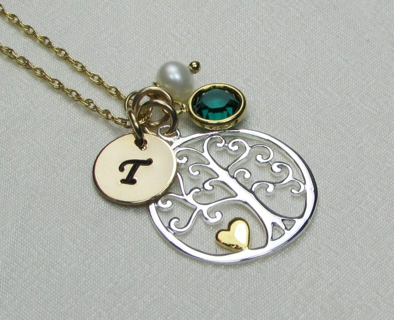 Birthstone Necklace for Mom Family Tree Necklace Gold Mothers Necklace Personalized Necklace for Mom Mothers Jewelry Gold Initial Necklace