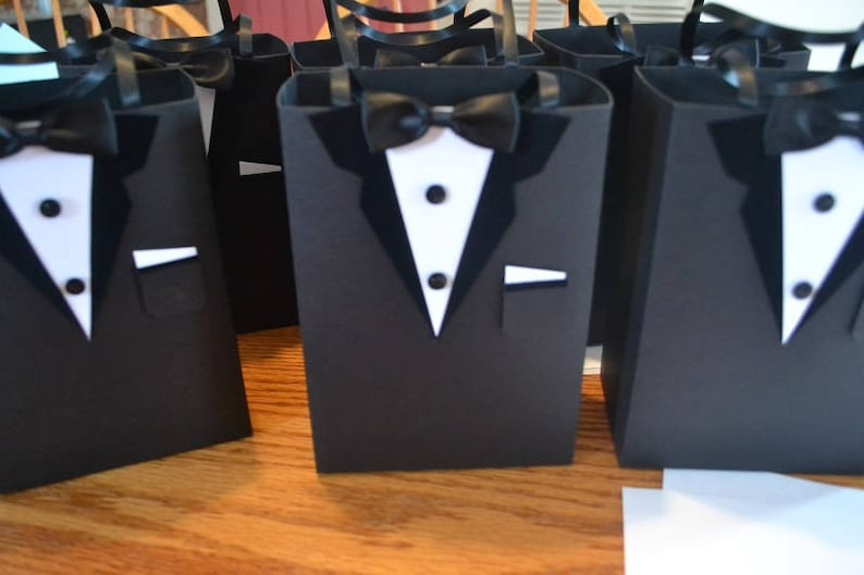 LARGE size 8 wide by 10 tall by 4 deep Sturdier than a paper bag Groomsmen gift bag Tuxedo favor bags
