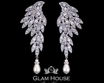 Wing earrings,prom jewelry,Feather earrings,elegant earrings,angel wings,fashion jewelry,chandelier earrings,silver wings
