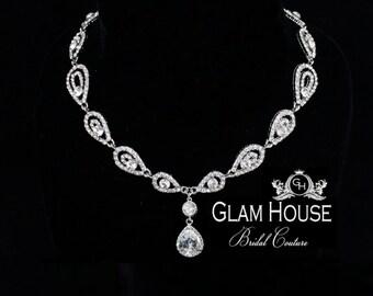 Art Deco Necklace,wedding necklace,bridal jewelry,vintage wedding,statement necklace,bridal accessories,bridal necklace,bridesmaid jewelry