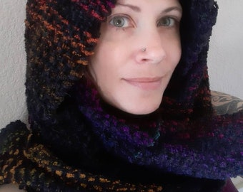 Hand Woven Shawl, Black and Rainbow, Russian Continuous Weave - Thick, Heavy, Fall/Winter Wear, Cotton Chenille, Acrylic, and Silk Thread
