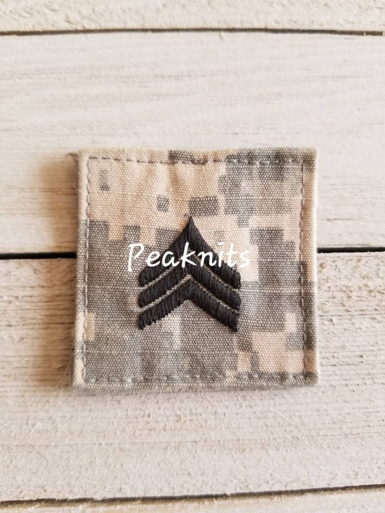 Sergeant E5 Enlisted Rank US Army ACU Patch Sew on/Glue image 0