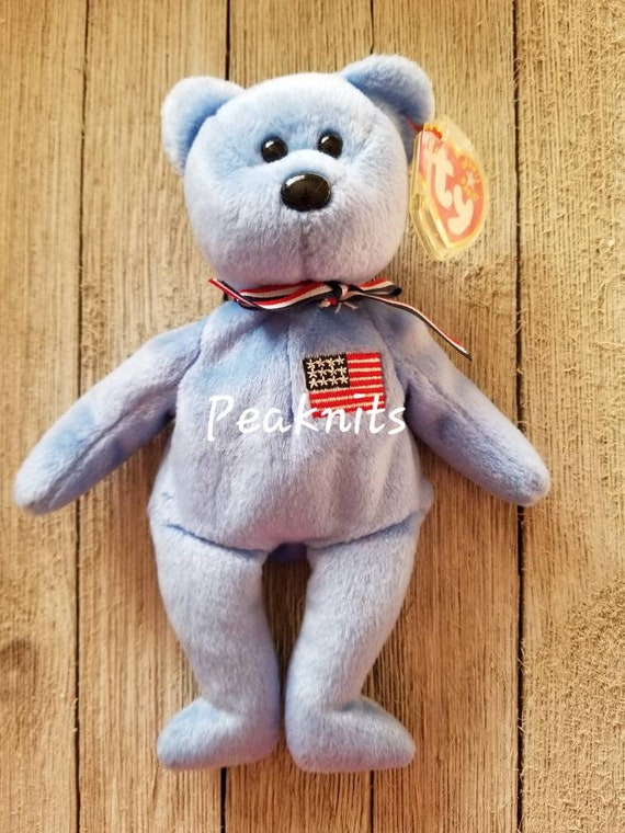 02050b7d659 America Blue Teddy Bear with American Flag and Ribbon Ty