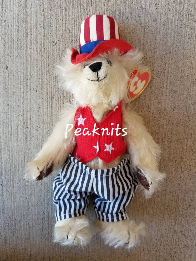 ff0699b0eda Uncle Sam White Bear in Patriotic Top Hat Vest and Pants