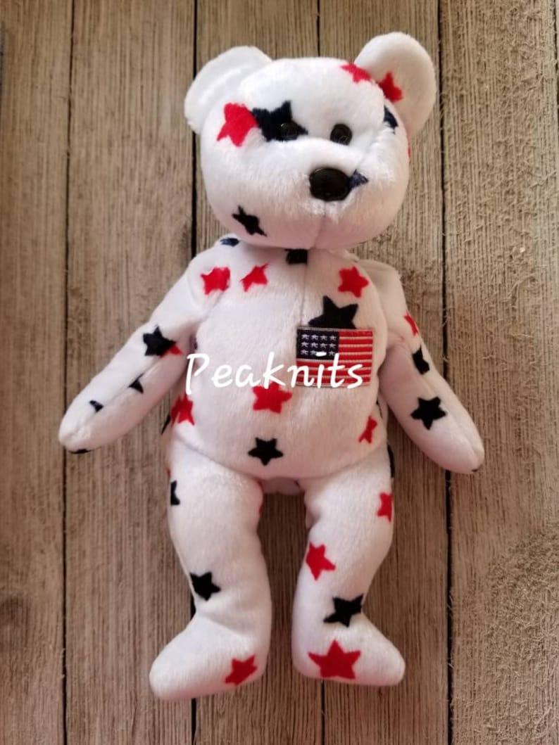 98cd37566ac Glory Teddy Bear with American Flag and Stars Ty Beanie