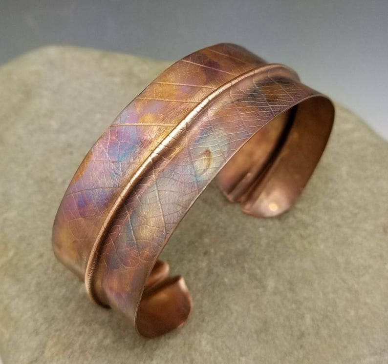 Flame-painted copper leaf cuff with real organic leaf imprint image 0