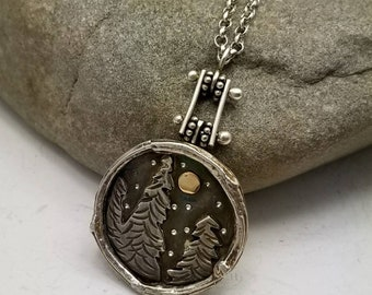 Forest Mini Landscape Pendant Necklace Stars and Moon Sterling Silver and 14K Gold Pinned Jewelry Mixed Metals Nature Camping Hiking Jewelry