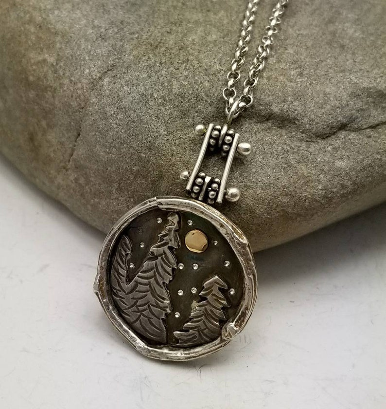 Forest Mini Landscape Pendant Necklace Stars and Moon Sterling image 0