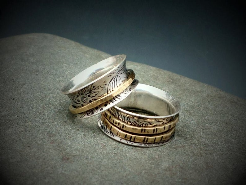 Mixed Metal Spinner Ring Sterling Silver and Gold Meditation image 0