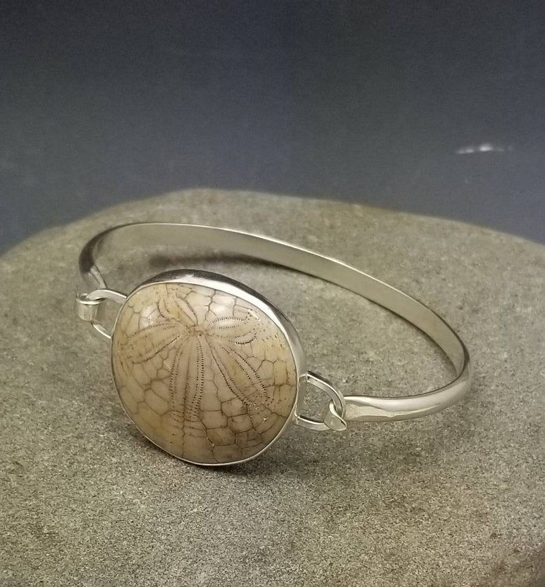 Fossil sea urchin tension bangle bracelet sterling silver image 0