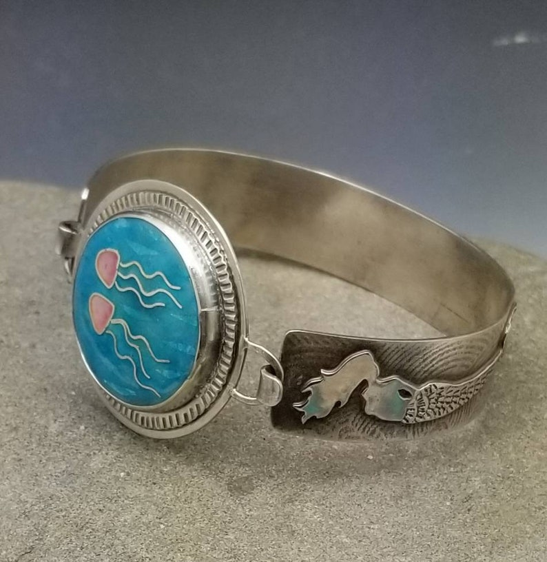 Mermaid and Jellyfish Cloisonne Tension Bangle Fine Cloisonne image 0