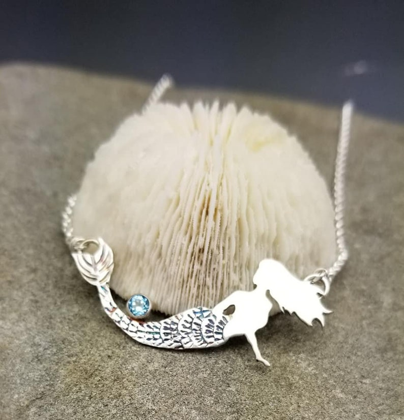 Mermaid Life Pendant Necklace Blue Topaz Sterling Silver image 0